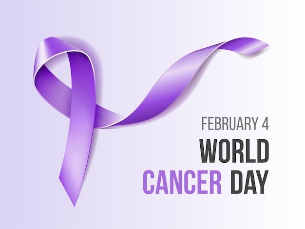 紫のリボンで2月の意識月間キャンペーン Premiumベクター