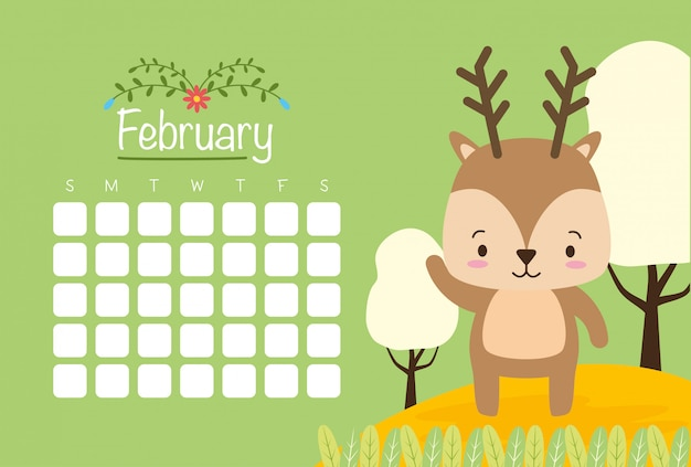 February calendar with cute reinder, flat style