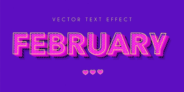 February pop art text with girly design