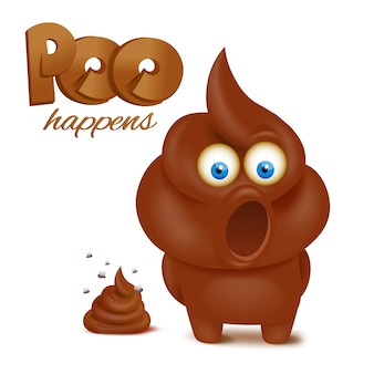 Feces emoji funny character. poo happens concept card.