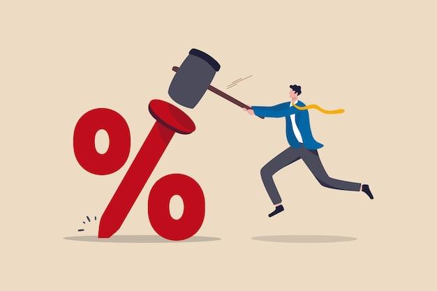 Иллюстрация низкой процентной ставки федерального резерва Premium векторы