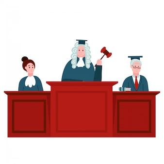 판사와 연방 대법원. 법학 및 법률 개념. 법정, 판사 및 정의의 그림. 법원 재판. 평면 벡터 일러스트 레이 션