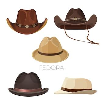 Набор fedora и ковбойские шляпы коричневого и бежевого цветов. головные уборы и стильные аксессуары для мужчин современных моделей изолированы реалистичными плоскими элементами.