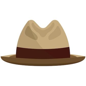 페도라 모자 평면 벡터. 스냅 테두리 또는 흰색 배경에 고립 된 borsalino 모자. 신사 chapeau 그림. 리본이 달린 우아한 헤드 액세서리