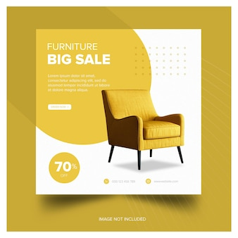 피드 가구 노란색 의자 배너 프리미엄 무료 다운로드
