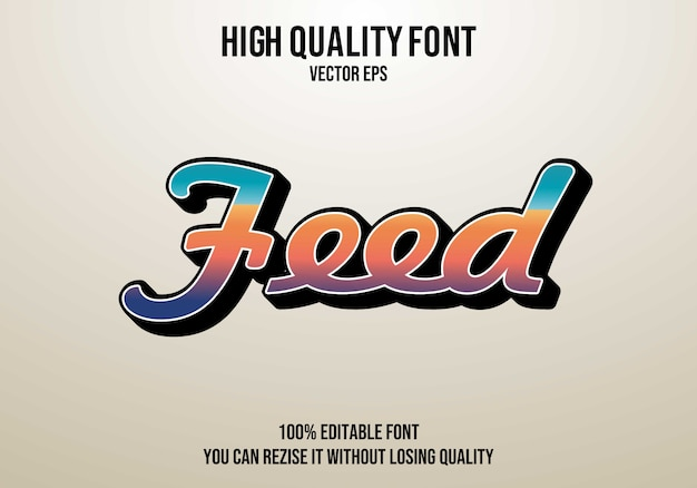 Feed vector text font effect