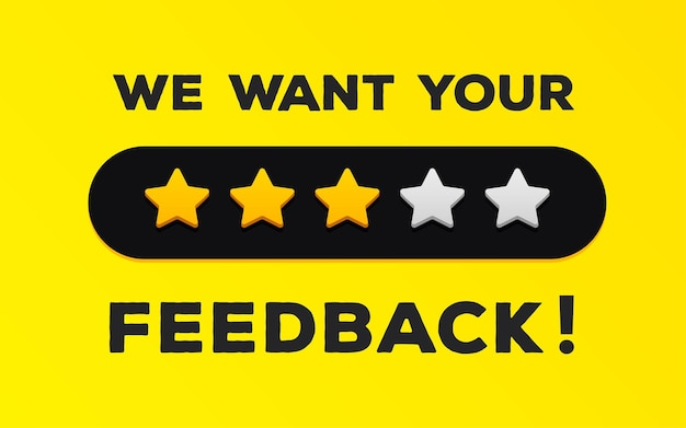 Feedback banner we want your feedback client comment concept consumer experience product review