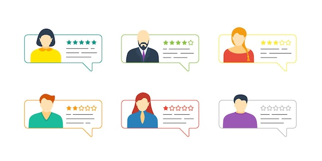 Feedback chat outline speech bubble set with male and female avatars. online five stars review rating with good and bad testimonial rate collection. vector quality appraisal illustration concept