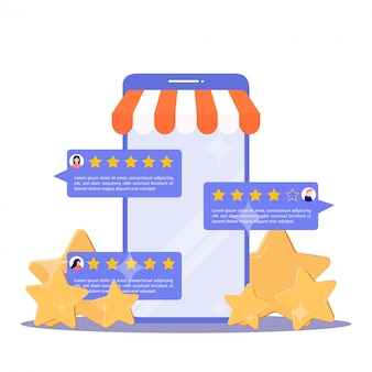 Feedback concept. customer review rating online shopping