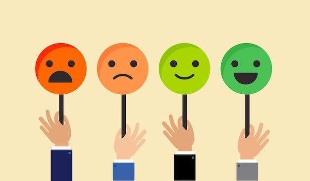 Дизайн концепции обратной связи, смайлик, смайлики и улыбка, шкала эмоций