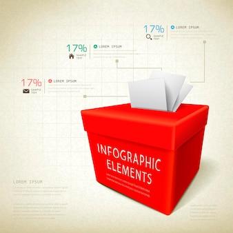 투표 상자 요소와 피드백 개념 infographic 템플릿 디자인