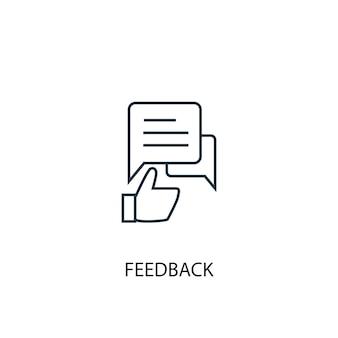 피드백 개념 라인 아이콘입니다. 간단한 요소 그림입니다. 피드백 개념 개요 기호 디자인입니다. 웹 및 모바일 ui/ux에 사용할 수 있습니다.