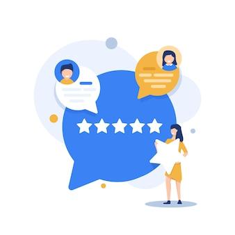 피드백 개념고객 만족도 평가 선택 및 긍정적인 리뷰 남기기