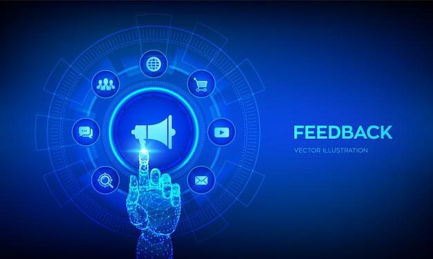 フィードバック。仮想画面上の顧客満足度の概念。デジタルインターフェイスに触れるロボットの手。