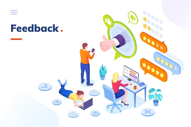 Feedback customer survey review opinion isometric