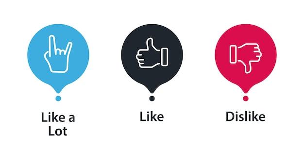 Набор иконок обратной связи. нравится, не нравится или много нравится. удовлетворенность клиентов. клиент концепции обратной связи. большие пальцы руки вверх и вниз, шкала эмоций. дизайн концепции обратной связи.