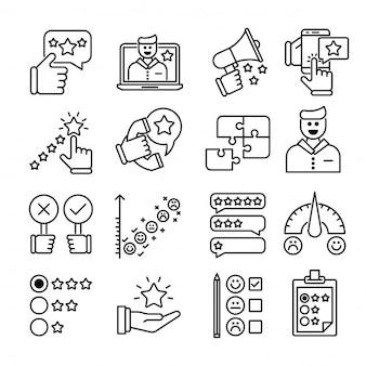 Feedback outline icons set