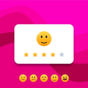 Feedback or rating scale with smiles illustration