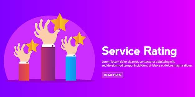 Feedback recognition concept hand holding rating star.