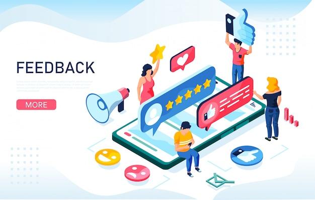 フィードバック、評判、品質のコンセプト。人々はサービスの質を大切にしています。 webランディングページ、モバイルアプリ、バナーテンプレートに使用できます。