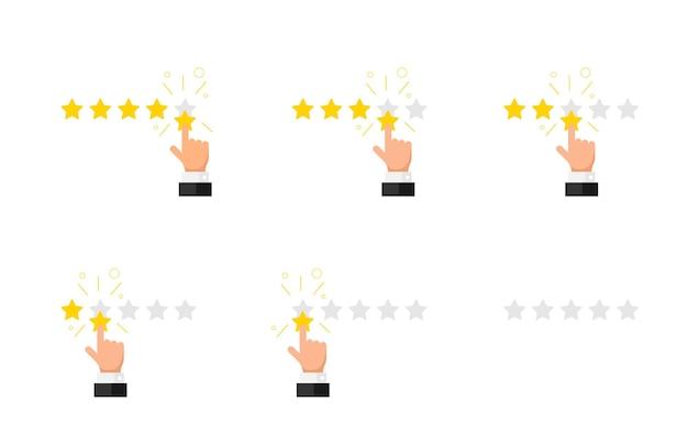 피드백 평판 품질 고객 리뷰 개념 플랫 스타일 집합입니다. 사업가 손 손가락 5 4 3 2 1 0 황금 별 등급. 벡터 만족 그림