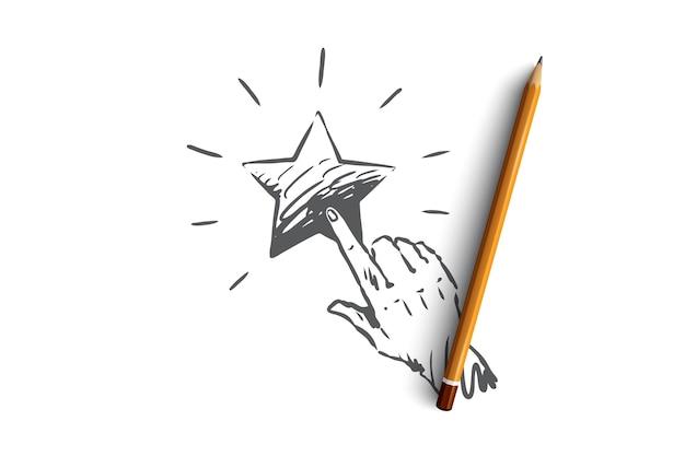 피드백, 스타, 서비스, 품질, 마크 개념. 스타 컨셉 스케치에 손으로 그린 손가락 밀어.
