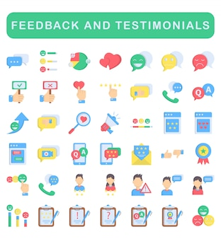 Feedback and testimonials icons set, flat style