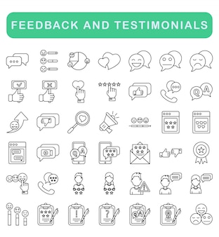 Feedback and testimonials icons set, outline style