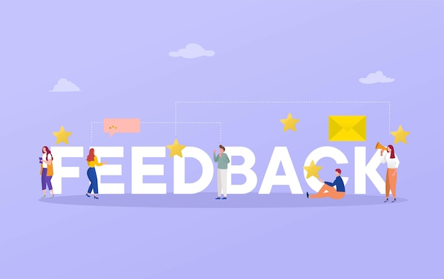 Feedback word rating  illustration concept, people give review rating and feedback with smartphone  , background