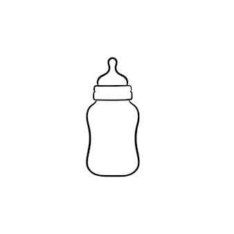 신생아 손으로 그린 개요 낙서 아이콘을 위한 젖병. 흰색 배경에 격리된 인쇄, 웹, 모바일 및 인포그래픽을 위한 젖꼭지 벡터 스케치 삽화가 있는 식수 병.
