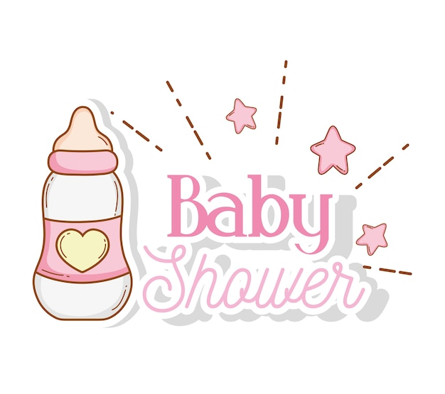Feeding bottle with stars to baby shower decoration