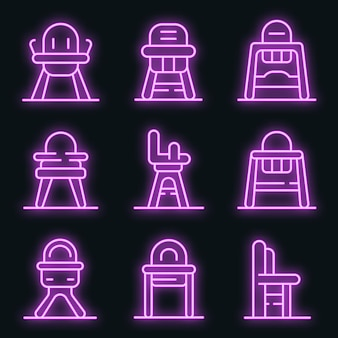 Feeding chair icons set. outline set of feeding chair vector icons neon color on black