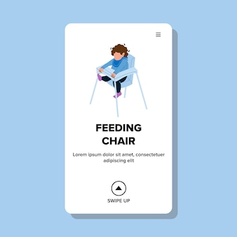In feeding chair sitting little boy child vector. small kid sit in feeding chair and waiting food breakfast. character infant in highchair seat, kitchen furniture web flat cartoon illustration