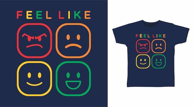 티셔츠 디자인을 위한 이모티콘 타이포그래피 같은 느낌