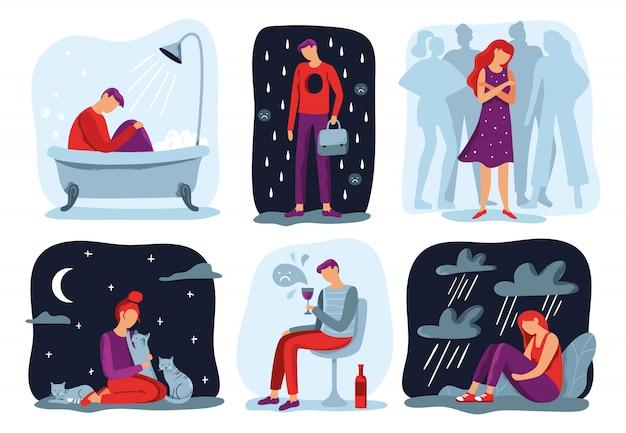 孤独を感じる。寂しい、悲しいうつ病の人と社会的孤立イラストセット