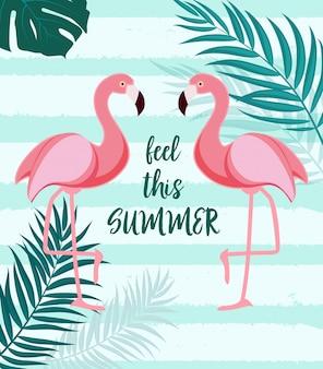 Симпатичный летний абстрактный с розовым фламинго feel этим летом