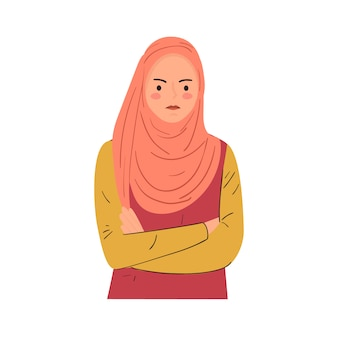 Feeling angry,mad, annoyed expression. young woman keeping arms crossed. modern hand drawn illustration.