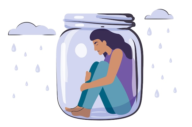 불안함 내향적인 십대 소녀 혼자 개인 공간 은행에서 영적 세계에 빠져