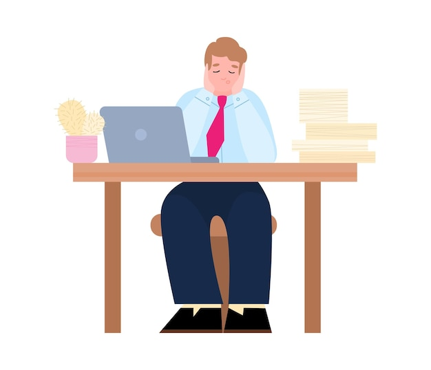 Feeling exhausted and tired office worker cartoon vector illustration isolated