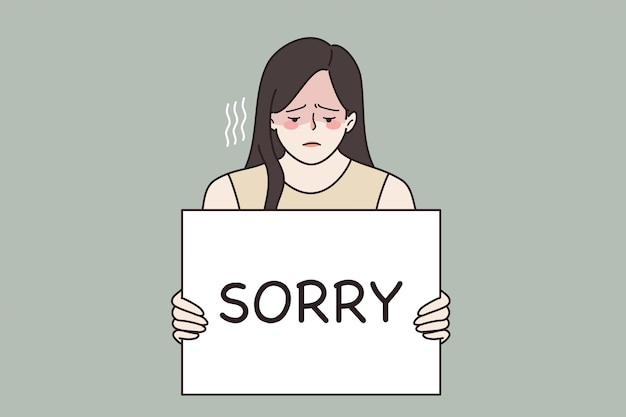 Feeling sorry and guilt concept. young sad frustrated woman feeling guilty holding sign saying sorry in hands vector illustration