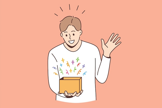 Feeling surprised and amazed concept. young smiling boy man cartoon character standing looking at box with colorful surprise feeling amazed vector illustration