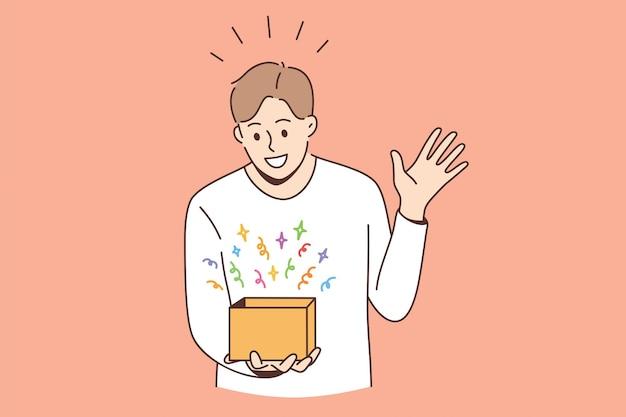 驚きと驚きのコンセプトを感じます。カラフルな驚きの気持ちでボックスを見て立っている若い笑顔の少年男漫画のキャラクター驚いたベクトルイラスト