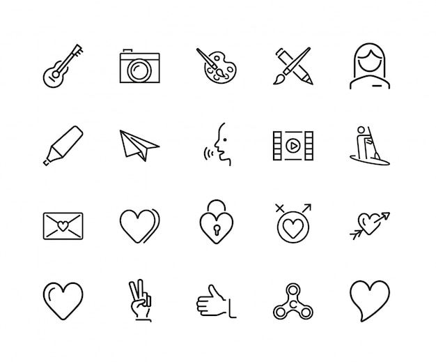 Feelings and entertainment icon set