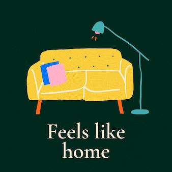 Feels like home template vector for hand drawn interior banner