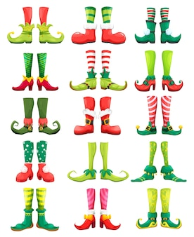 Feets of christmas elf, leprechaun, gnome, fairy