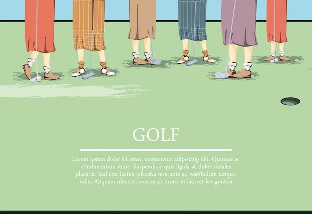 女性ゴルファーのゴルフコースでfeets