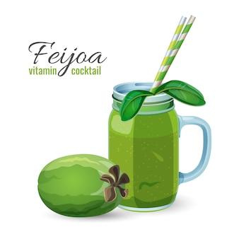 白で隔離の現実的なデザインのガラス瓶にフェイジョアの新鮮なフルーツカクテル。パイナップルグアバとグアバティーン熟したエキゾチックな飲み物とストロー
