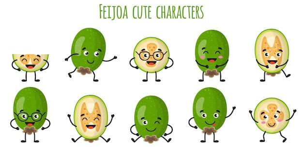 Feijoa 과일 다른 포즈와 감정을 가진 귀여운 재미있는 쾌활한 캐릭터