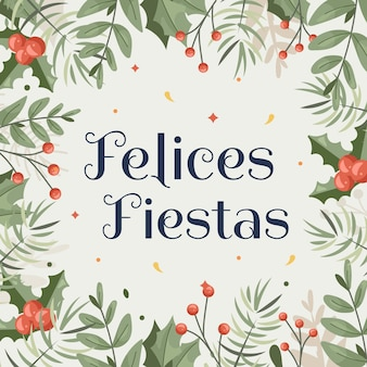 Felices fiestas background with tree branches