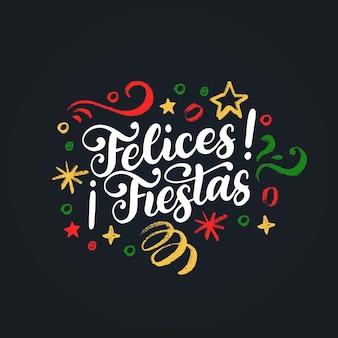 Felices fiestas, рукописная фраза, переведенная с испанского «с рождеством христовым». векторная иллюстрация мишура новый год на черном фоне.